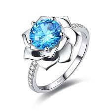 lotus flower engagement ring merthus womens 925 sterling silver created blue topaz lotus flower