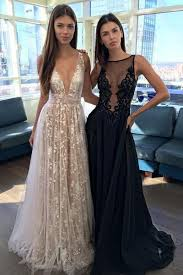 appliques a line v neck long prom gowns tulle lace prom dress