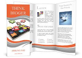 tablet pc software screen from puzzle with icons 3d brochure