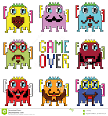 pixelated hipster robot emoticons with simple with game over sign