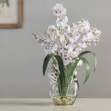 white orchids andover mills silk white orchids in oval vase reviews