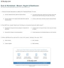 quiz u0026 worksheet mozart haydn u0026 beethoven study com