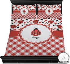 ladybugs u0026 gingham duvet cover set personalized baby n toddler