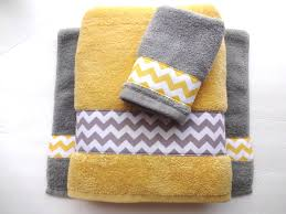 awesome mustard colored towels yellow and gray chevron bathroom