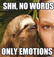 Meme Pictures No Words - shh no words only emotions rape sloth quickmeme