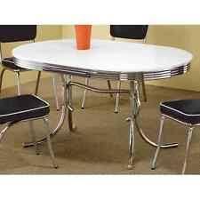 mid century kitchen table coaster 50s retro nostalgic style oval dining table chrome plated ebay