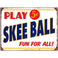 play skee ball 5 cents metal sign vintage style game room wall