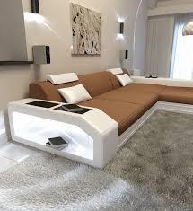 sofa braun upholstery fabric sofa prato l shaped with led lighting colour