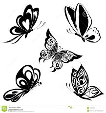 set black white butterflies of a stock vector