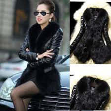 womens warm winter fur collar cardigan coat leather thick jacket