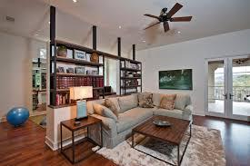 L Shaped Open Floor Plan Bookcase L Shaped Room Divider Combined Dark Ceiling Fan Elegant