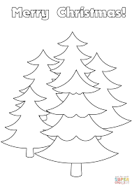 merry christmas card with trees coloring page free printable
