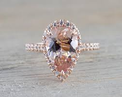 morganite pear engagement ring pear morganite ring etsy