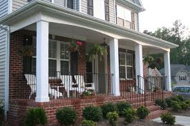 Interior Enchanting Front Porch Column Decoration Using White