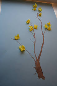 tissue paper forsythia trunk and stems blown through a straw