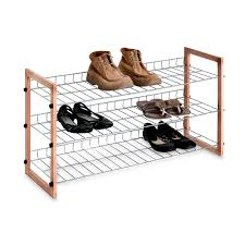Bed Bath And Beyond Bathroom Shelves by 3 Shelf Wooden Metal Shoe Rack Bed Bath U0026 Beyond