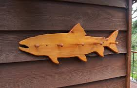 vintage salmon fish wall rack wooden fish by pinespringscottage