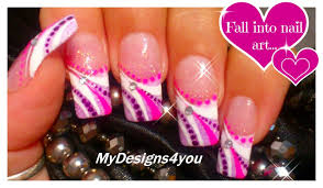abstract french tip nail art pink and purple nails