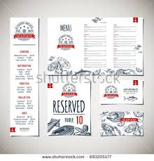 seafood menu restaurant cafe design template stock vector