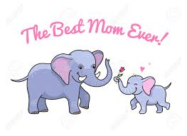 cartoon characters little elephant gives a flower to mom cute