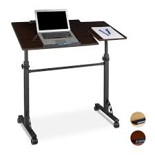 Rolling Stand Up Desk Height Adjustable Laptop Table Podium Lectern Office Rolling
