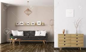 salon avec canapé noir intérieur moderne de salon avec canapé noir et commode de rendu 3d