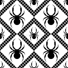 Decorative Spiders Seamless Vector Pattern With Insects Symmetrical Geometric Black