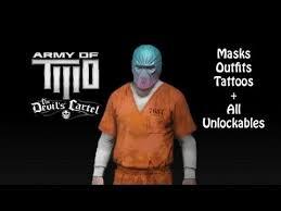 army of two the devil u0027s cartel u2013 all masks tattoos