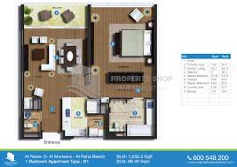 1 Bedroom Apartment Floor Plans by Floor Plan Of Al Nada Al Raha Beach