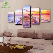 multi combination modern sea beach bridge oil painting seascape