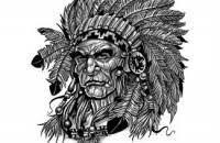 fresh grey native american warrior head tattoo design photos