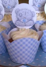 teddy baby shower ideas tatty teddy cupcakes in blue white gingham check cupcake