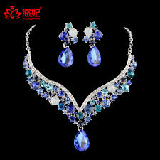 color crystal necklace images Bridal wedding necklace earrings set rhinestone blue color crystal jpg