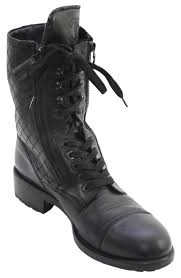s lace up combat boots size 11 chanel black s leather quilted zipper lace up 44