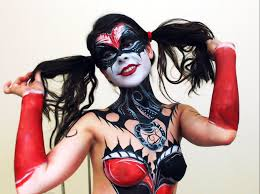 body painting halloween costumes if harley quinn and gene simmons had a daughter self body