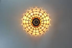 Glass Ceiling Lights Tiffany Style Stained Glass Square Pattern Ceiling Lighting Flush