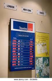 bureau de changes display exchange rates bureau de stock photos display exchange