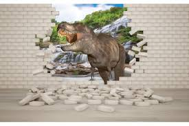 mural 3d effect brick wall and dinosaur wall mural 3d effect brick wall and dinosaur
