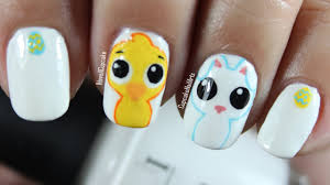 easter nail art cute and bunny youtube