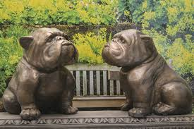 pair of bulldog garden ornament statues bronze finish
