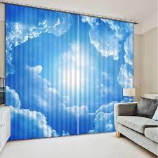 Bright Blue Curtains Shop Bright Blue Sky Curtain Window Room 3d Window Curtains