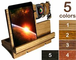 ipad stand wood apple watch stand charging station wood men desk