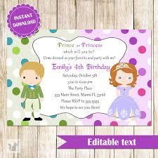 Editable Invitation Cards Free Download Prince And Princess Invitation Green Purple Printable Kids
