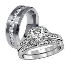 wedding bands sets his and hers 3 pcs his hers stainless steel women s wedding engagement rings