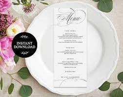 Diy Wedding Menu Cards Diy Menu Card Etsy