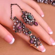 finger rings design images Vintage flowered two finger rings turkish design don shopping jpg