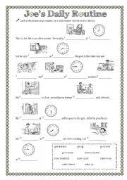worksheet joe s daily routine