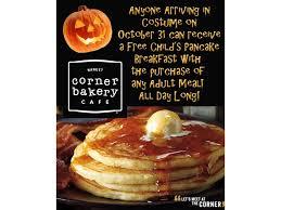 Pancake Halloween Costume Corner Bakery Cafe Celebrates Halloween Free Pancakes