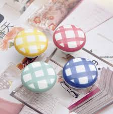 ceramic knobs for kitchen cabinets 38mm red green bue yellow plaid printed ceramic knobs bedroom
