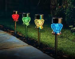 Solar Powered Outdoor Lights by 4 Crystal Glass Effect Solar Lights Path Garden Table Outdoor